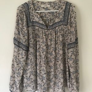 L Loft Floral Tan Blue Blouse Long Sleeve Flowy